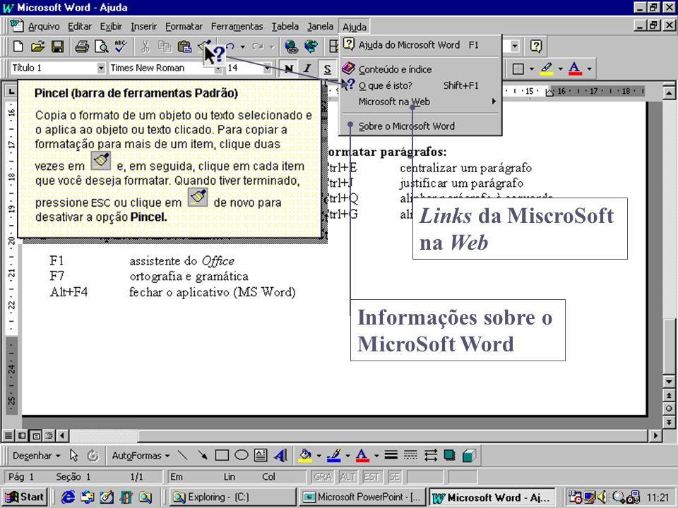 Informações sobre o MicroSoft Word Links da MiscroSoft na Web