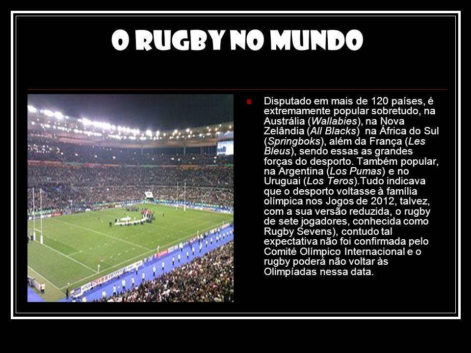 O rugby no mundo Disputado em mais de 120 países, é extremamente popular sobretudo, na Austrália (Wallabies), na Nova Zelândia (All Blacks) na África