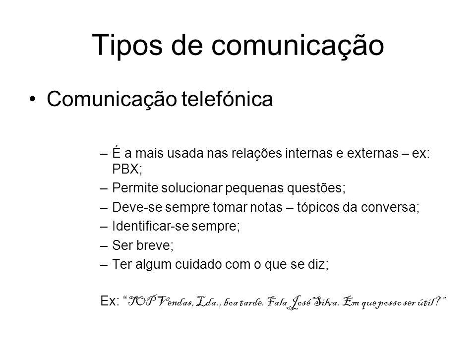 Tipos de comunicação Comunicação telefónica –É a mais usada nas relações internas e externas – ex: PBX; –Permite solucionar pequenas questões; –Deve-s