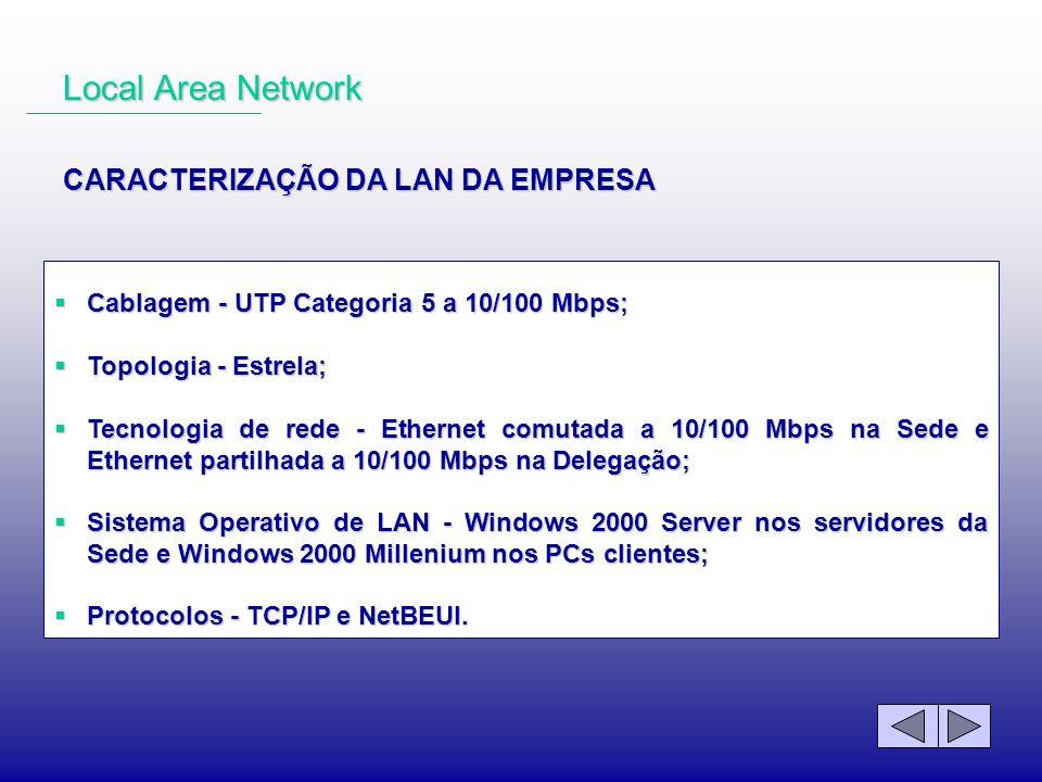 Cablagem - UTP Categoria 5 a 10/100 Mbps; Cablagem - UTP Categoria 5 a 10/100 Mbps; Topologia - Estrela; Topologia - Estrela; Tecnologia de rede - Eth
