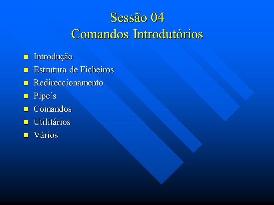 Sessão 04 Comandos Introdutórios Introdução Introdução Estrutura de Ficheiros Estrutura de Ficheiros Redireccionamento Redireccionamento Pipe´s Pipe´s