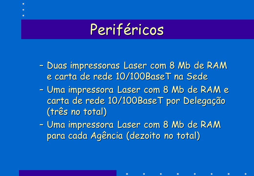 Periféricos –Duas impressoras Laser com 8 Mb de RAM e carta de rede 10/100BaseT na Sede –Uma impressora Laser com 8 Mb de RAM e carta de rede 10/100Ba