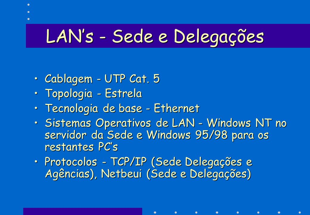 LANs - Sede e Delegações Cablagem - UTP Cat. 5Cablagem - UTP Cat. 5 Topologia - EstrelaTopologia - Estrela Tecnologia de base - EthernetTecnologia de