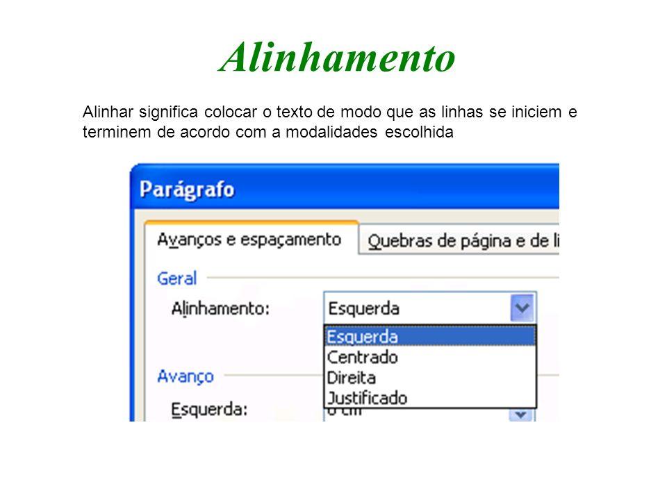 Alinhamento Alinhar significa colocar o texto de modo que as linhas se iniciem e terminem de acordo com a modalidades escolhida