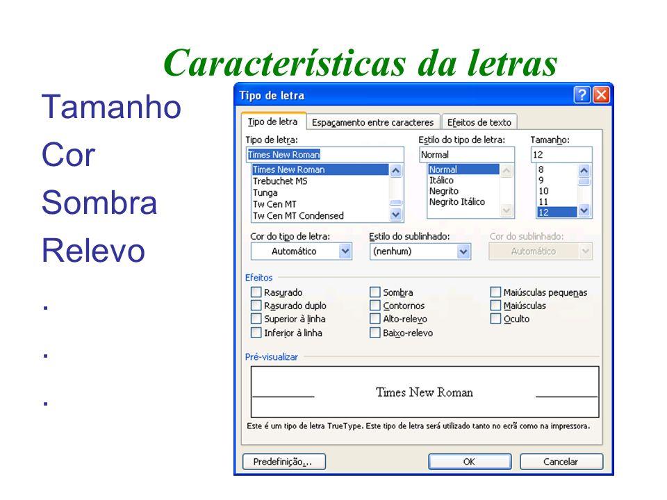 Características do texto Parágrafos –Parágrafo é uma ou mais linhas de texto, delimitadas por duas mudanças de linha.