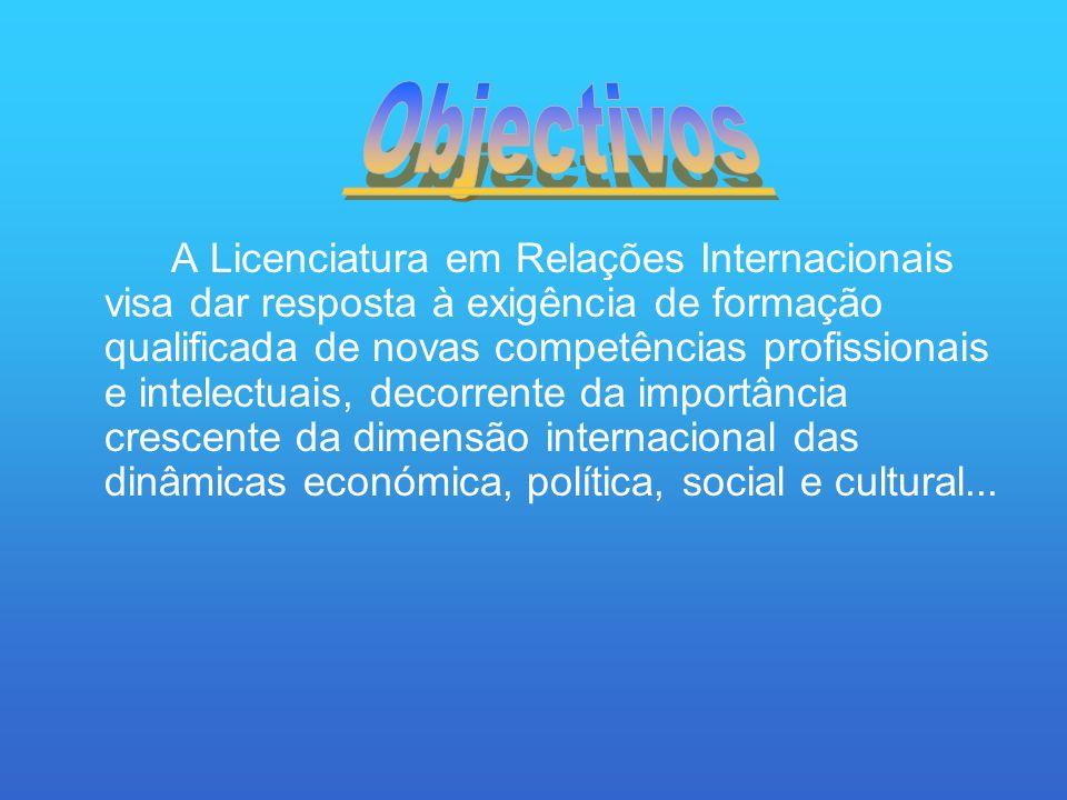 A Licenciatura em Relações Internacionais visa dar resposta à exigência de formação qualificada de novas competências profissionais e intelectuais, decorrente da importância crescente da dimensão internacional das dinâmicas económica, política, social e cultural...