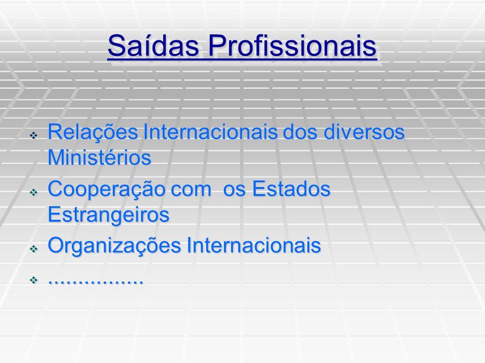Saídas Profissionais Relações Internacionais dos diversos Ministérios Relações Internacionais dos diversos Ministérios Cooperação com os Estados Estrangeiros Cooperação com os Estados Estrangeiros Organizações Internacionais Organizações Internacionais................................
