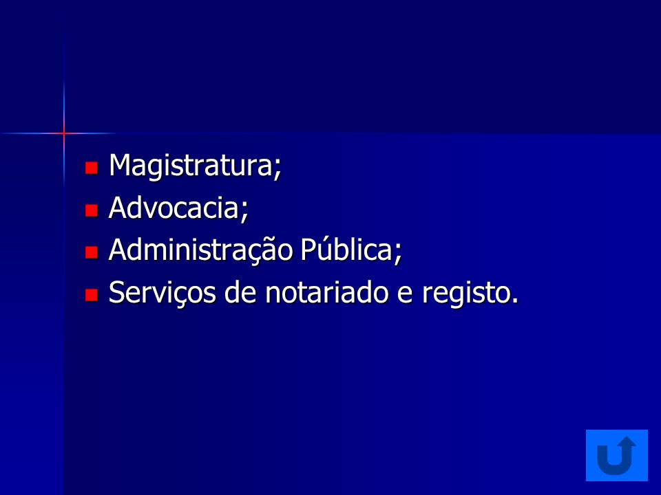 Advocacia; Magistratura; Registos e Notariado; Administração Pública; Diplomacia; Área Empresarial e Social (incluindo saúde, segurança social, habitação, consumo e direito das minorias).