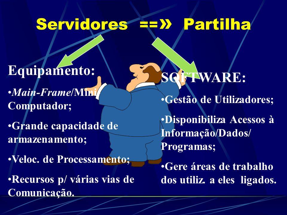 Recursos na/da Rede: Servidores - Elementos responsáveis pela partilha e controlo de Recursos/Informação; Terminais/Estações de trabalho; Periféricos: