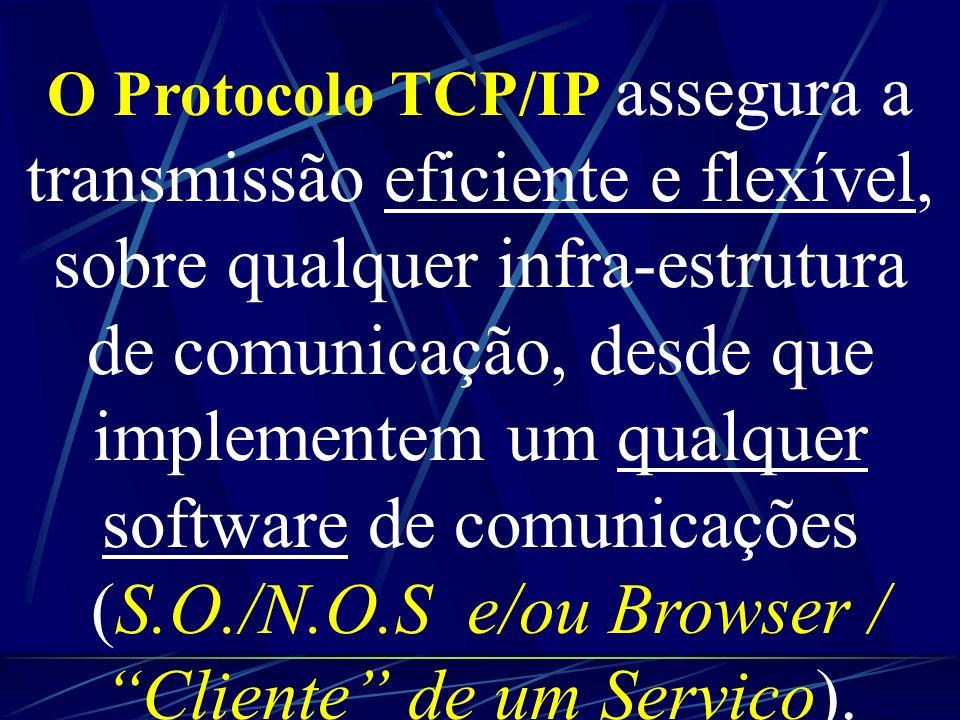 TCP / IP: TCP - Assegura a comunicação (Origem/Destino) garantindo que a mensagem/ordem chega sem erros/ /falhas e que é entregue ao seu destinatário.