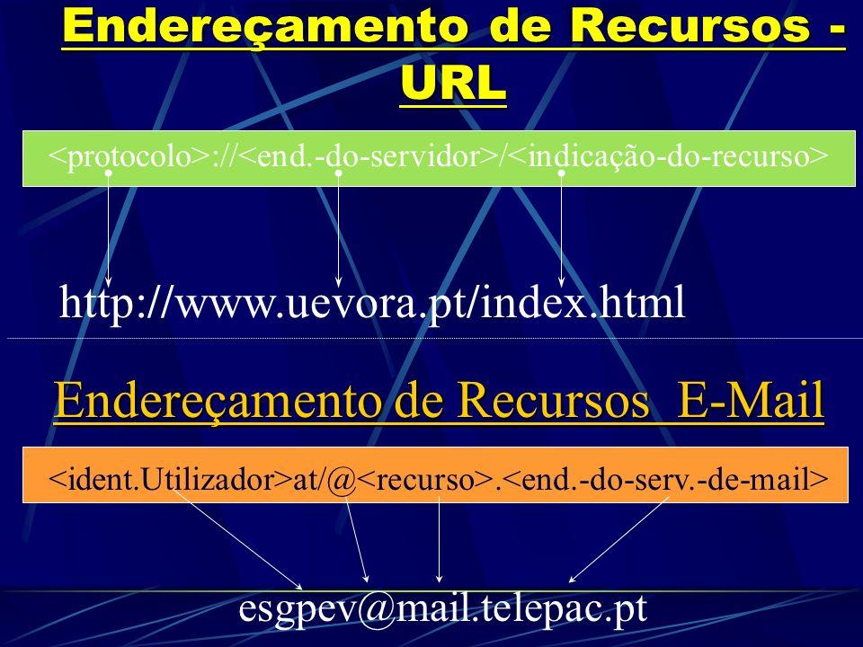 Endereços na NET: => => Identificação da Máquina/Servidor a aceder/estabelecer comunicação. Tipos de Endereços: Site/Página - http://www.uevora.pt/ (D