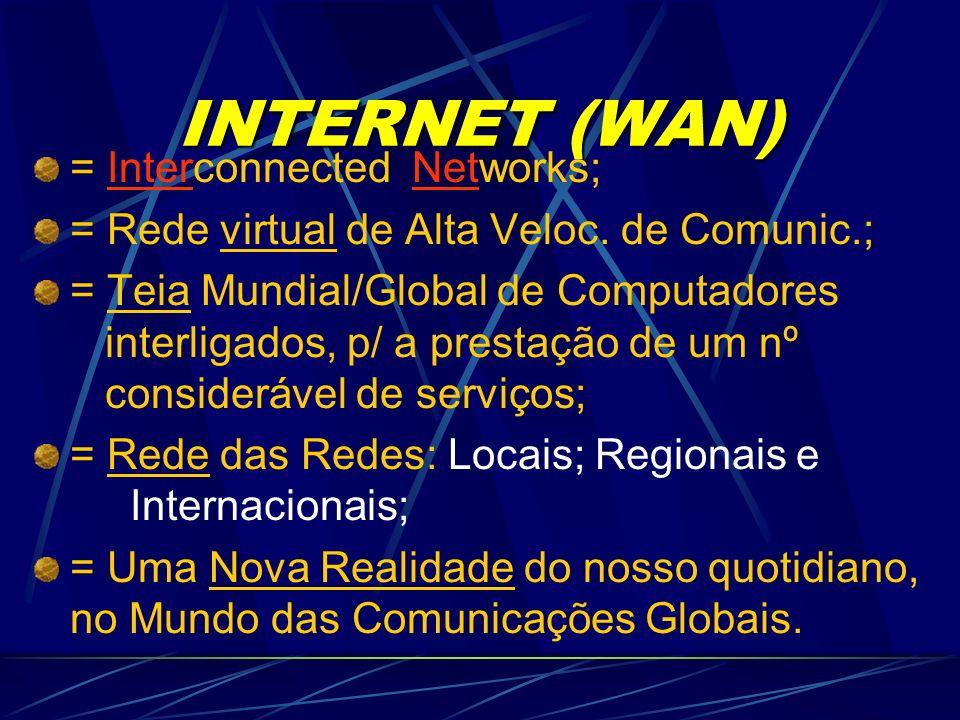 INTERNET (WAN) = Interconnected Networks; = Rede virtual de Alta Veloc.