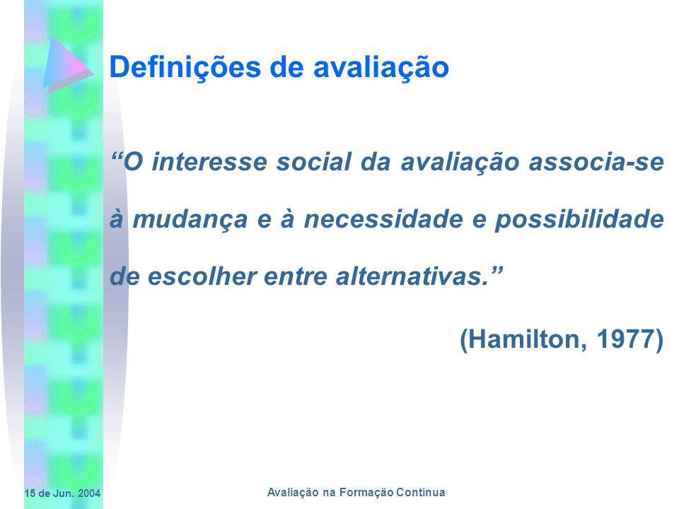 15 de Jun. 2004 Avaliação na Formação Contínua Definições de avaliação O interesse social da avaliação associa-se à mudança e à necessidade e possibil