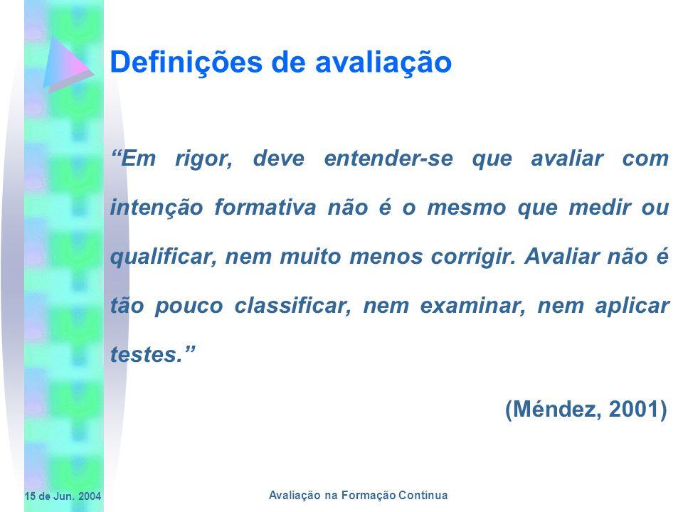 15 de Jun. 2004 Avaliação na Formação Contínua Definições de avaliação Em rigor, deve entender-se que avaliar com intenção formativa não é o mesmo que