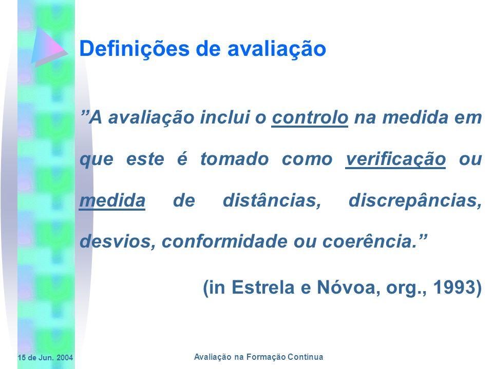 15 de Jun. 2004 Avaliação na Formação Contínua Definições de avaliação A avaliação inclui o controlo na medida em que este é tomado como verificação o