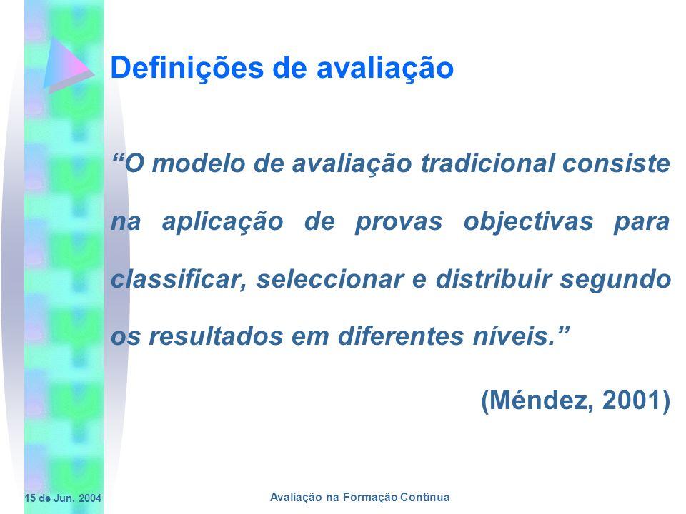 15 de Jun. 2004 Avaliação na Formação Contínua Definições de avaliação O modelo de avaliação tradicional consiste na aplicação de provas objectivas pa