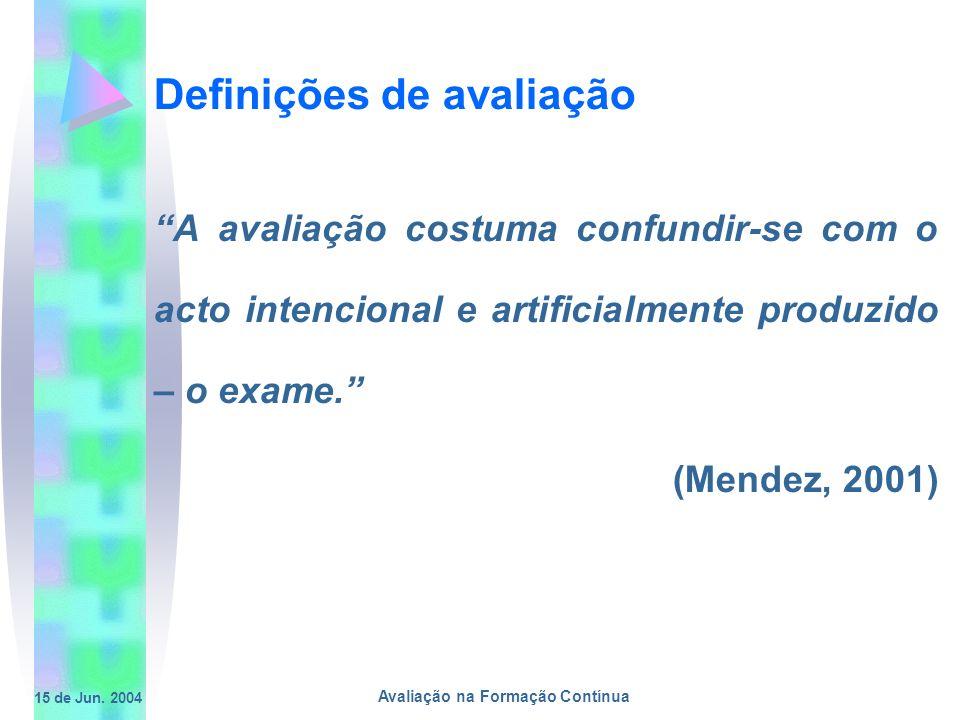 15 de Jun. 2004 Avaliação na Formação Contínua Definições de avaliação A avaliação costuma confundir-se com o acto intencional e artificialmente produ