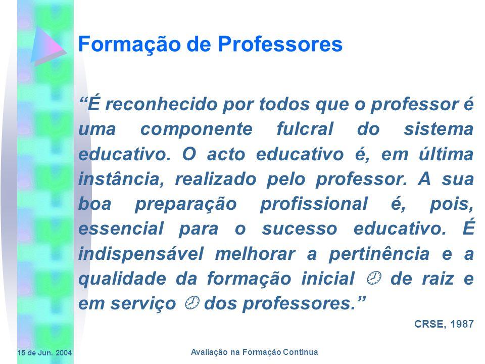 15 de Jun. 2004 Avaliação na Formação Contínua Formação de Professores É reconhecido por todos que o professor é uma componente fulcral do sistema edu