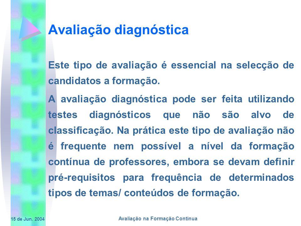 15 de Jun. 2004 Avaliação na Formação Contínua Avaliação diagnóstica Este tipo de avaliação é essencial na selecção de candidatos a formação. A avalia