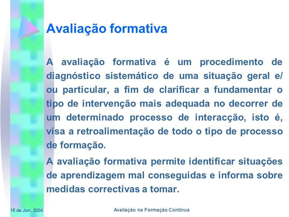 15 de Jun. 2004 Avaliação na Formação Contínua Avaliação formativa A avaliação formativa é um procedimento de diagnóstico sistemático de uma situação