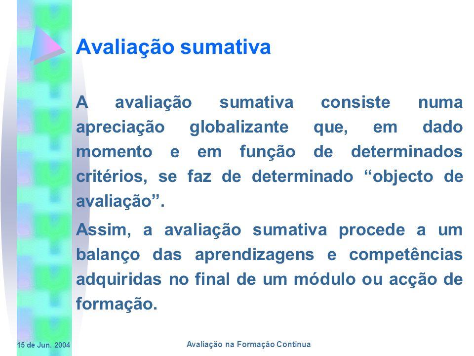 15 de Jun. 2004 Avaliação na Formação Contínua Avaliação sumativa A avaliação sumativa consiste numa apreciação globalizante que, em dado momento e em
