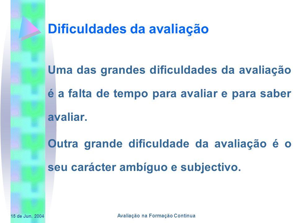 15 de Jun. 2004 Avaliação na Formação Contínua Dificuldades da avaliação Uma das grandes dificuldades da avaliação é a falta de tempo para avaliar e p