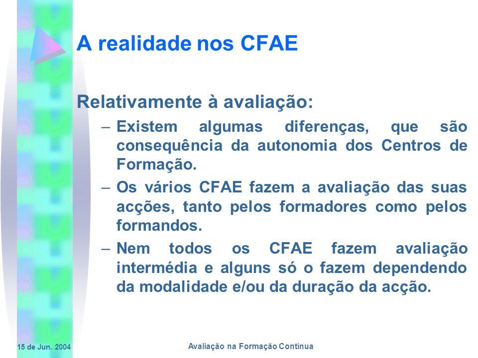15 de Jun. 2004 Avaliação na Formação Contínua A realidade nos CFAE Relativamente à avaliação: –Existem algumas diferenças, que são consequência da au