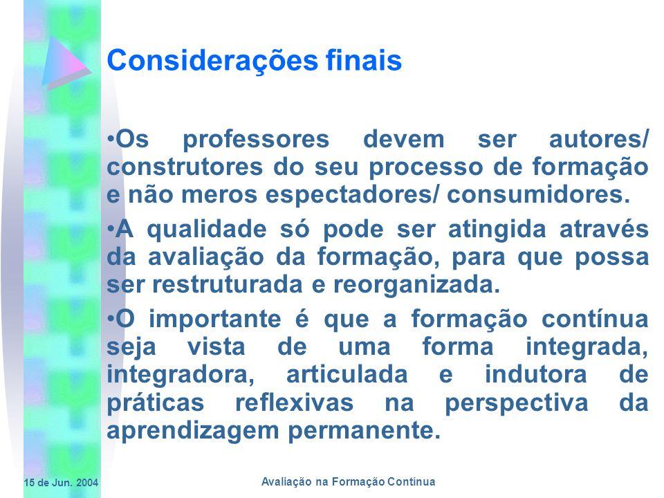 15 de Jun. 2004 Avaliação na Formação Contínua Considerações finais Os professores devem ser autores/ construtores do seu processo de formação e não m