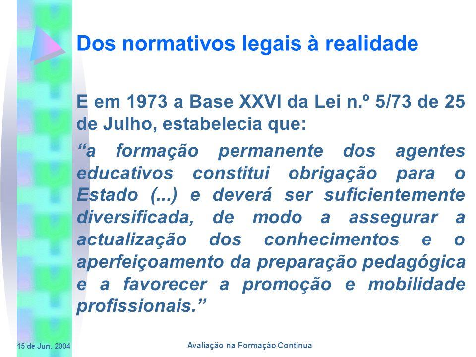 15 de Jun. 2004 Avaliação na Formação Contínua Dos normativos legais à realidade E em 1973 a Base XXVI da Lei n.º 5/73 de 25 de Julho, estabelecia que