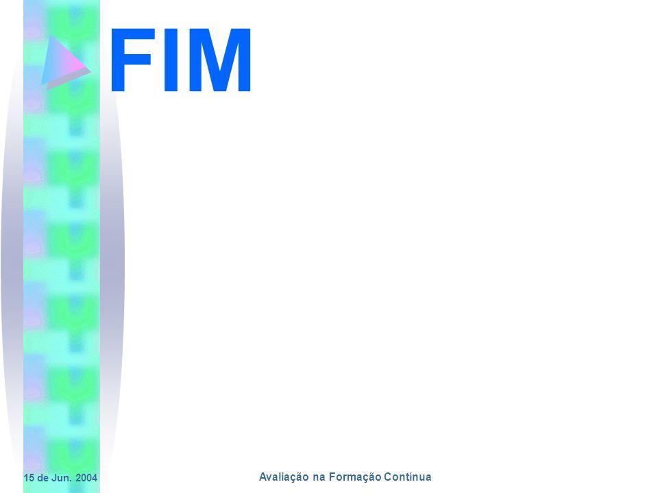 15 de Jun. 2004 Avaliação na Formação Contínua FIM