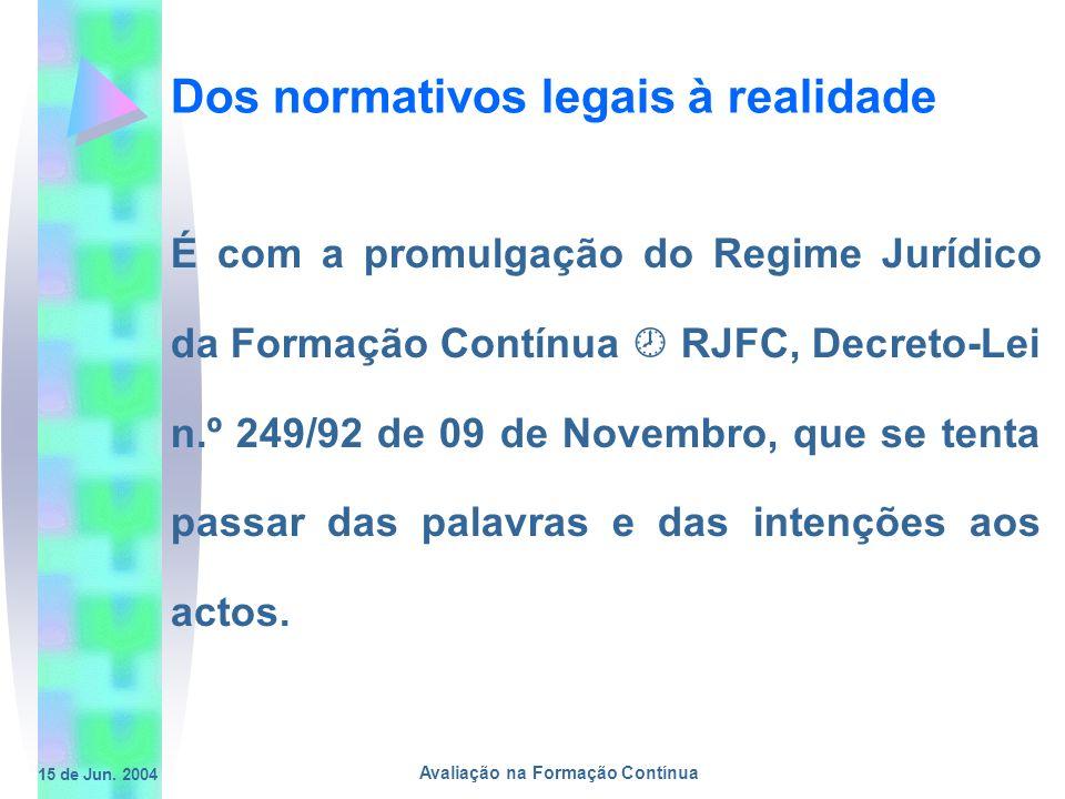 15 de Jun. 2004 Avaliação na Formação Contínua Dos normativos legais à realidade É com a promulgação do Regime Jurídico da Formação Contínua RJFC, Dec