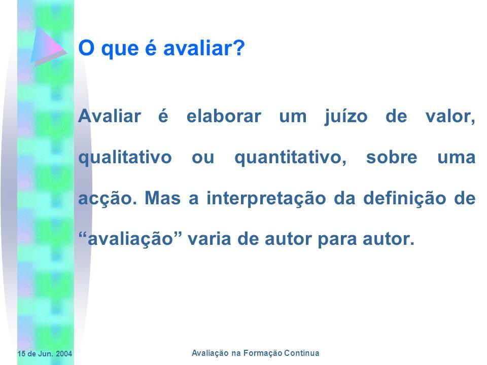 15 de Jun. 2004 Avaliação na Formação Contínua O que é avaliar? Avaliar é elaborar um juízo de valor, qualitativo ou quantitativo, sobre uma acção. Ma