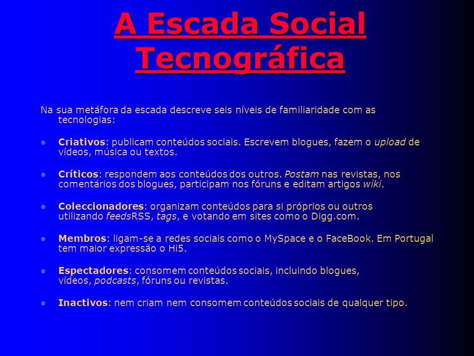 A Escada Social Tecnográfica A Escada Social Tecnográfica Na sua metáfora da escada descreve seis níveis de familiaridade com as tecnologias: Criativos: publicam conteúdos sociais.