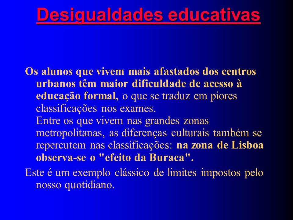 Desigualdades educativas Desigualdades educativas Os alunos que vivem mais afastados dos centros urbanos têm maior dificuldade de acesso à educação formal, o que se traduz em piores classificações nos exames.