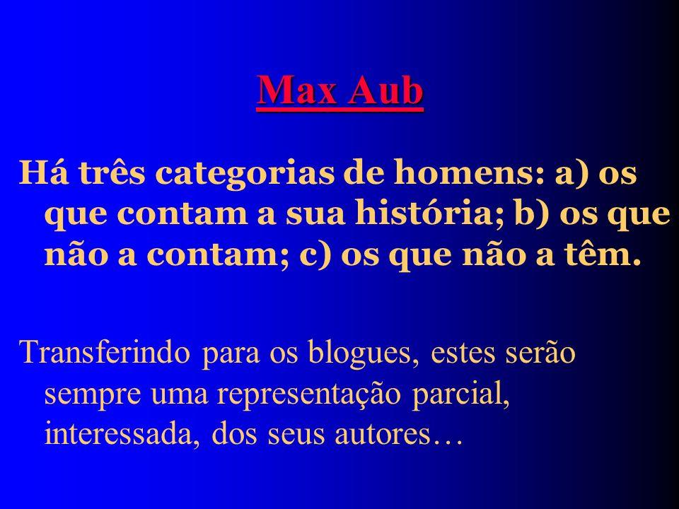 Max Aub Há três categorias de homens: a) os que contam a sua história; b) os que não a contam; c) os que não a têm.