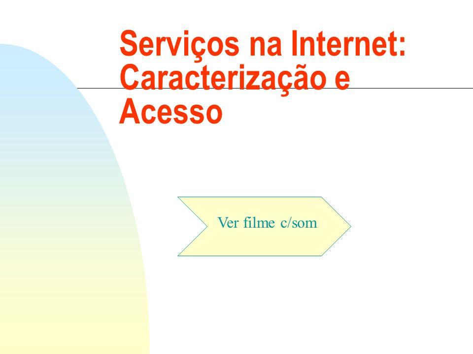 n Navegação através de Menus n Acesso a diversos serviços e tipos de informação Princípio da navegação amigável na Internet Servidores de Gopher