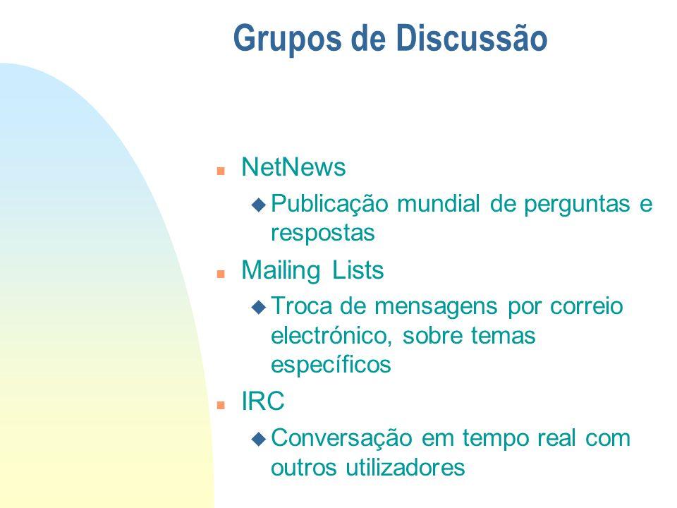 n NetNews u Publicação mundial de perguntas e respostas n Mailing Lists u Troca de mensagens por correio electrónico, sobre temas específicos n IRC u