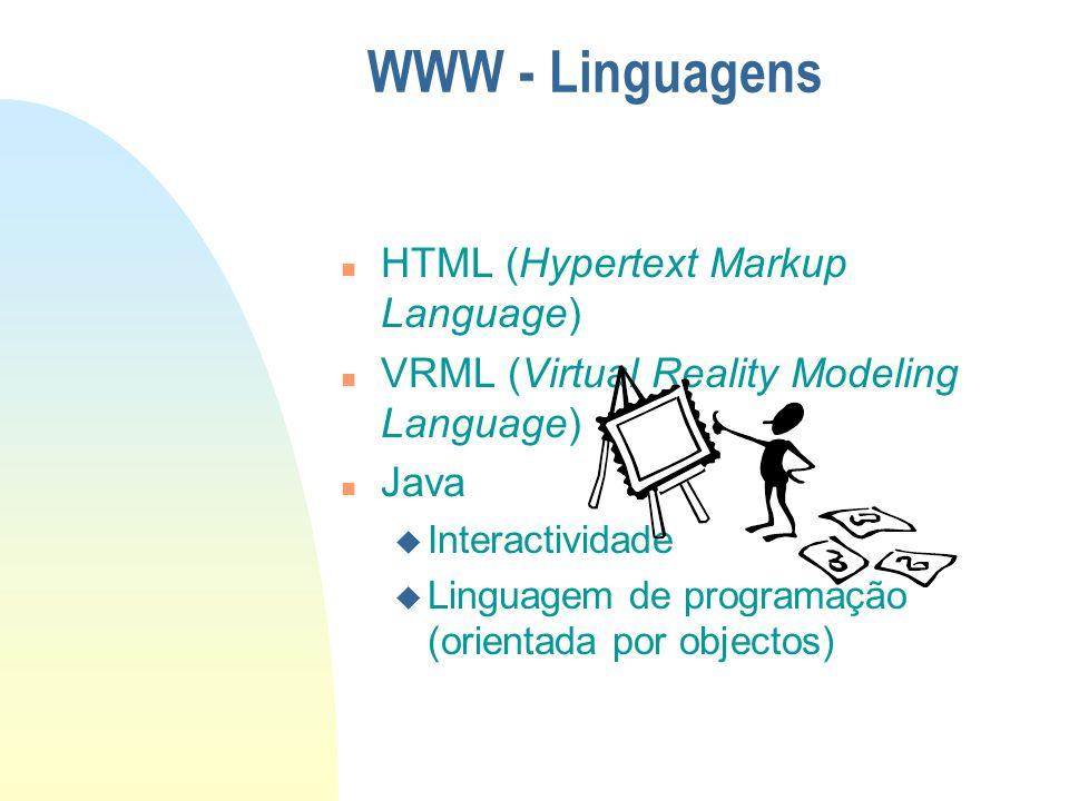 n HTML (Hypertext Markup Language) n VRML (Virtual Reality Modeling Language) n Java u Interactividade u Linguagem de programação (orientada por objec