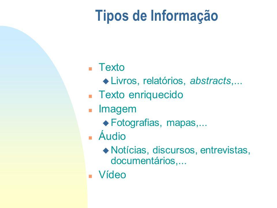 Tipos de Informação n Texto u Livros, relatórios, abstracts,... n Texto enriquecido n Imagem u Fotografias, mapas,... n Áudio u Notícias, discursos, e