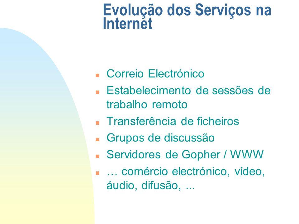 WWW (continuação) n É o sistema de navegação na Internet mais completo: u Baseado no conceito de hiper- texto u Permite a vários serviços, recorrendo ao conceito de URL: F HTTP, Gopher, FTP, WAIS, NEWS, etc.