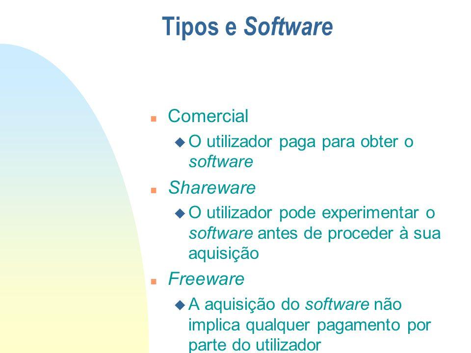 n Comercial u O utilizador paga para obter o software n Shareware u O utilizador pode experimentar o software antes de proceder à sua aquisição n Free