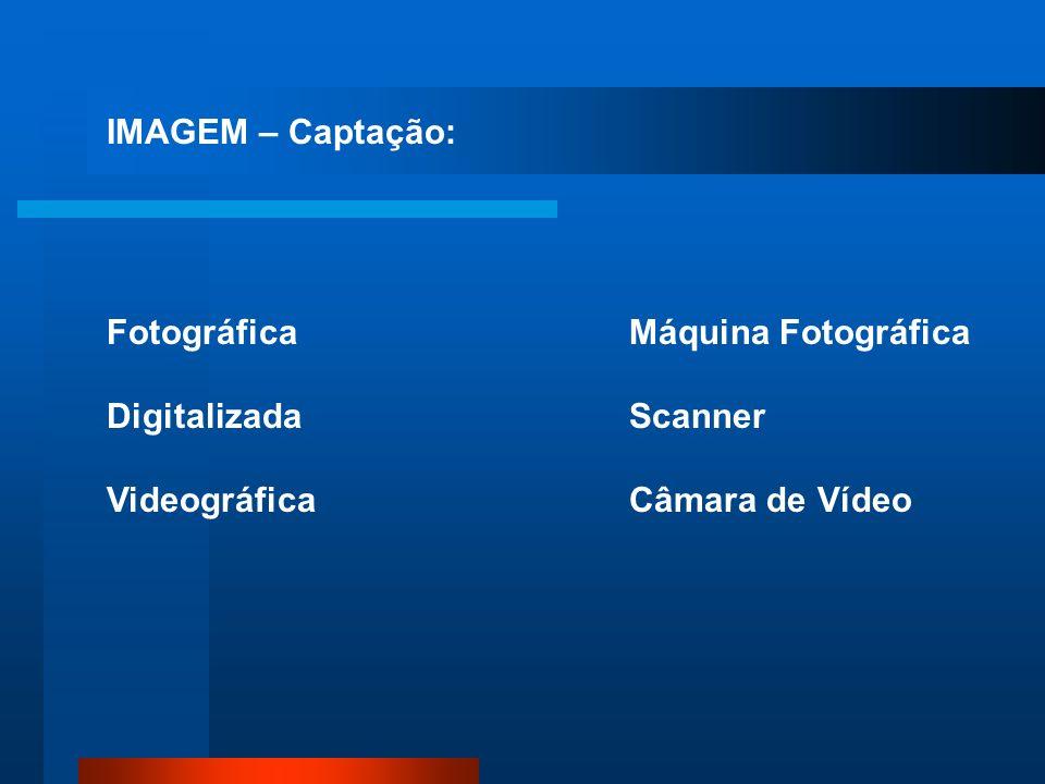 IMAGEM – Captação: Fotográfica Digitalizada Videográfica Máquina Fotográfica Scanner Câmara de Vídeo