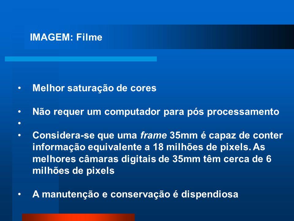 IMAGEM: Filme Melhor saturação de cores Não requer um computador para pós processamento Considera-se que uma frame 35mm é capaz de conter informação e