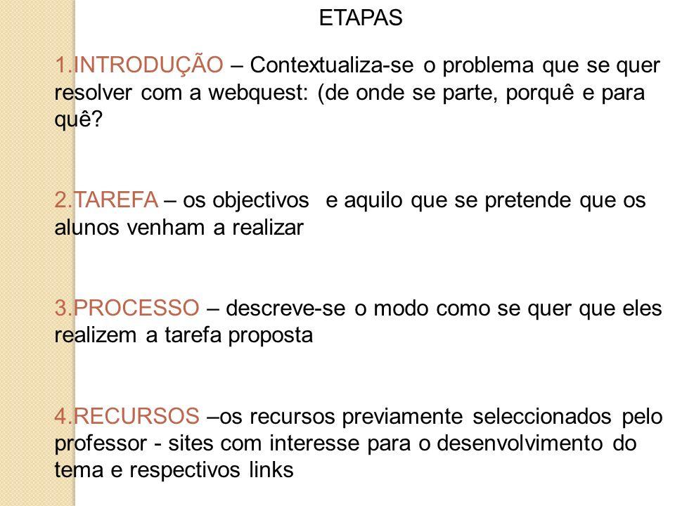ETAPAS 1.INTRODUÇÃO – Contextualiza-se o problema que se quer resolver com a webquest: (de onde se parte, porquê e para quê? 2.TAREFA – os objectivos