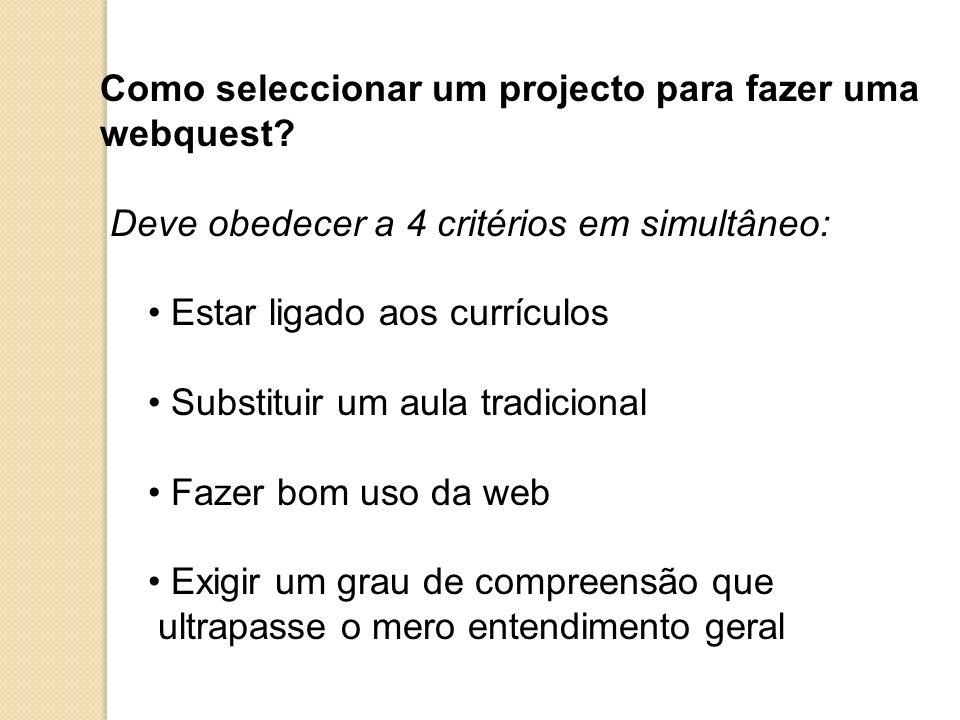 Como seleccionar um projecto para fazer uma webquest? Deve obedecer a 4 critérios em simultâneo: Estar ligado aos currículos Substituir um aula tradic