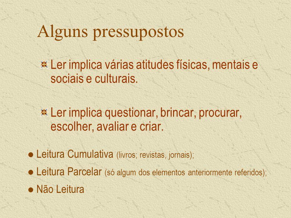Alguns pressupostos Ler implica várias atitudes físicas, mentais e sociais e culturais.