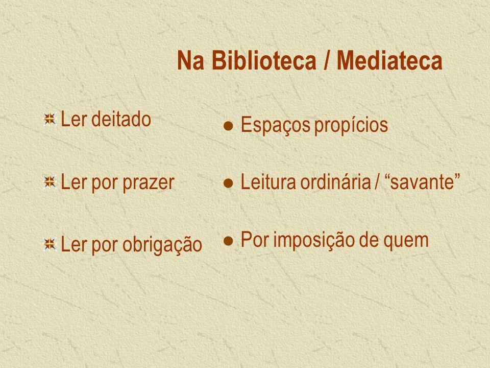 Na Biblioteca / Mediateca Ler deitado Ler por prazer Ler por obrigação Espaços propícios Leitura ordinária / savante Por imposição de quem