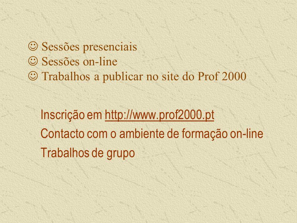 Sessões presenciais Sessões on-line Trabalhos a publicar no site do Prof 2000 Inscrição em http://www.prof2000.pthttp://www.prof2000.pt Contacto com o ambiente de formação on-line Trabalhos de grupo