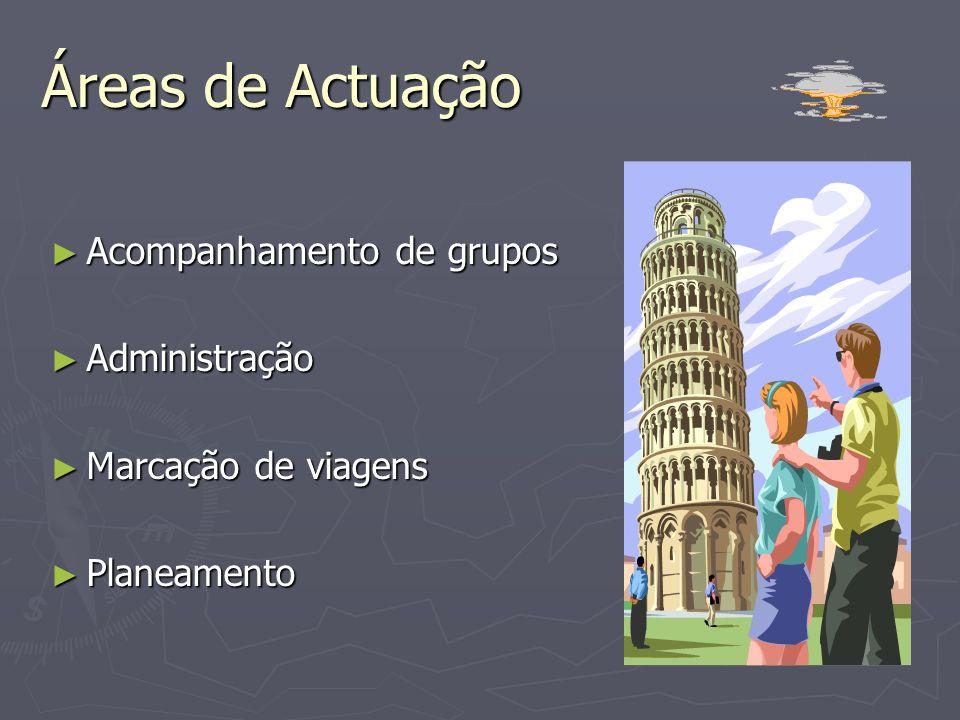 Local de Trabalho / Áreas de Actuação / Funções Agências de viagens; hotéis; centros de lazer; empresas de animação turística; empresas transportadora