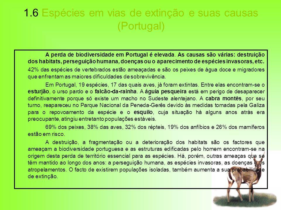 1.6 Espécies em vias de extinção e suas causas (Portugal) A perda de biodiversidade em Portugal é elevada. As causas são várias: destruição dos habita